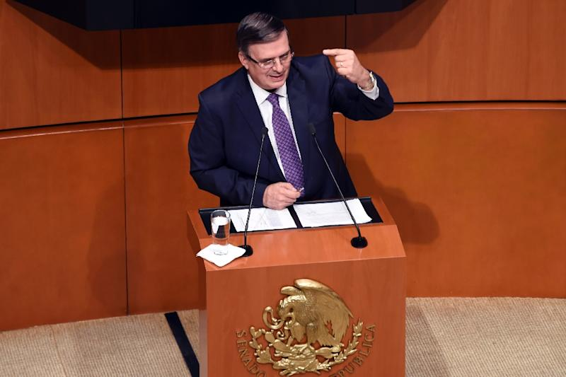 "Mexican Foreign Minister Marcelo Ebrard assured Congress he had not agreed to Trump's demand for a ""safe third country agreement"" (AFP Photo/ALFREDO ESTRELLA)"