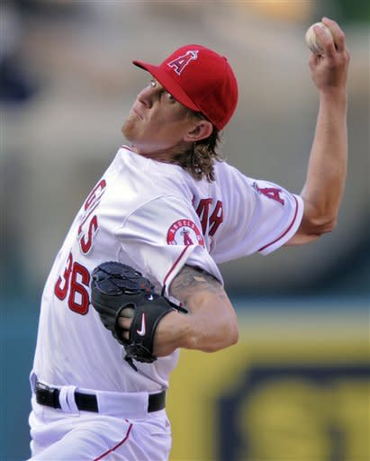 Los Angeles Angels starting pitcher Jered Weaver throws to the plate during the second inning of their baseball game against the Baltimore Orioles, Saturday, April 21, 2012, in Anaheim, Calif. (AP Photo/Mark J. Terrill)