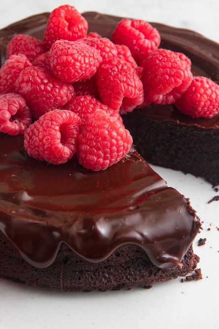 """<p>The best part about this flourless cake is that it doesn't require any flour alternatives. It's just the perfect cake that happens to have zero flour. Cocoa powder and eggs give it all the lift and structure it needs. It's the perfect thing to bake for your Valentine or for yourself on a Wednesday night. </p><p>Get the <a href=""""https://www.delish.com/cooking/recipe-ideas/a19473626/best-flourless-chocolate-cake-recipe/"""" rel=""""nofollow noopener"""" target=""""_blank"""" data-ylk=""""slk:Flourless Chocolate Cake"""" class=""""link rapid-noclick-resp"""">Flourless Chocolate Cake</a> recipe.</p>"""