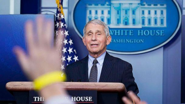 PHOTO:Dr. Anthony Fauci, director of the National Institute of Allergy and Infectious Diseases, takes questions as he speaks with reporters in the James Brady Press Briefing Room at the White House, Jan. 21, 2021. (Alex Brandon/AP)