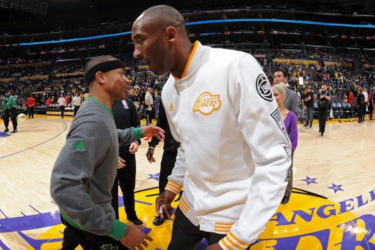 Kobe Helping Isaiah Thomas Break Down Game Film