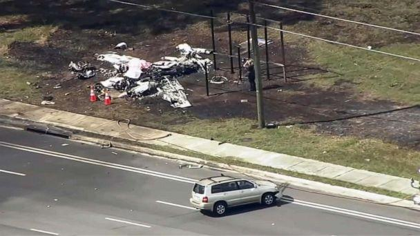 PHOTO: A small plane crashed into an SUV, Oct. 31, 2019, in Ocala, Florida, killing both plane passengers and injuring the driver. (WFTV)
