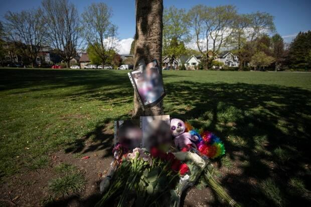 A memorial in memory of a 15-year-old boy who was fatally stabbed near Almond Park in Vancouver, British Columbia on Monday, April 26, 2021.