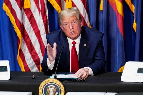 PHOTO: President Donald Trump speaks during a roundtable on supporting Native Americans, May 5, 2020, in Phoenix. (Evan Vucci/AP)