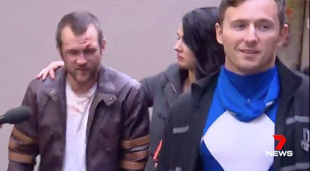 A man dressed as a super hero crime fighter Wolverine walked from a Sydney police station accused instead of starting crime. Picture: 7 News