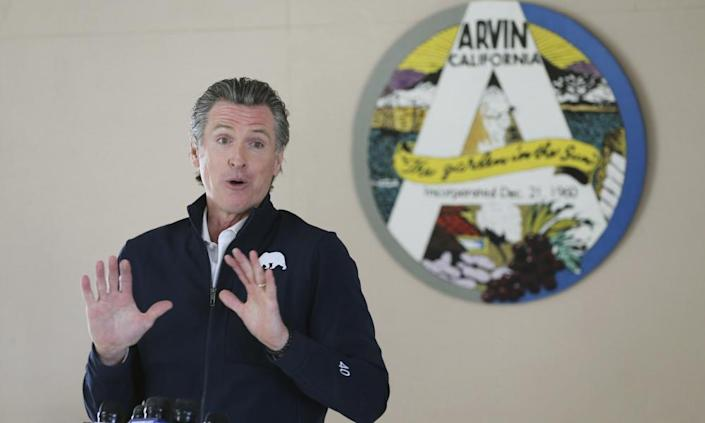 Governor Gavin Newsom last week. Newsom's ratings have dipped amid disquiet over his handling of the pandemic response.