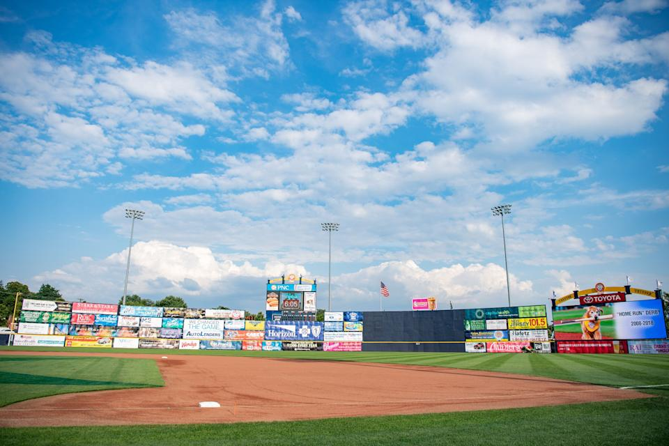 TRENTON, NJ - JULY 11: A detailed view of the outfield wall at Arm & Hammer Park before the 2018 Eastern League All Star Game at Arm & Hammer Park on July 11, 2018 in Trenton, New Jersey. (Photo by Mark Brown/Getty Images)
