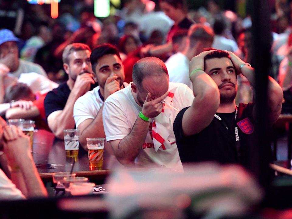 Fans in Croydon react to Italy's equaliser (PA)