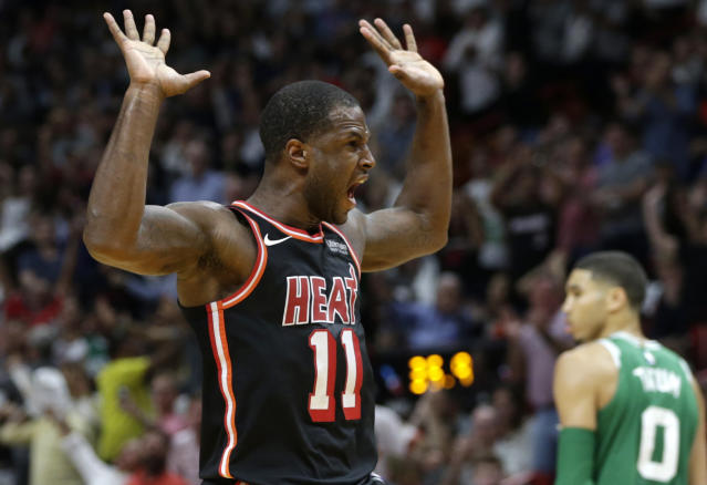 "<a class=""link rapid-noclick-resp"" href=""/nba/players/5010/"" data-ylk=""slk:Dion Waiters"">Dion Waiters</a> and the <a class=""link rapid-noclick-resp"" href=""/nba/teams/mia/"" data-ylk=""slk:Miami Heat"">Miami Heat</a> started fast and finished strong, snapping the <a class=""link rapid-noclick-resp"" href=""/nba/teams/bos/"" data-ylk=""slk:Boston Celtics"">Boston Celtics</a>' NBA-best winning streak at 16 games. (AP)"