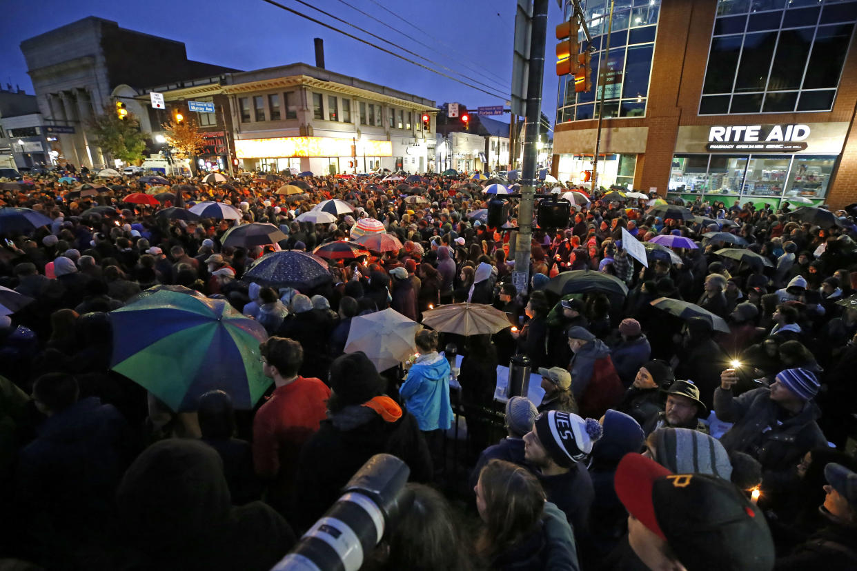 A crowd gathers in the Squirrel Hill section of Pittsburgh during a memorial vigil for the victims of the shooting at the Tree of Life Synagogue on Oct. 27, 2018. (Photo: Gene J. Puskar/AP)