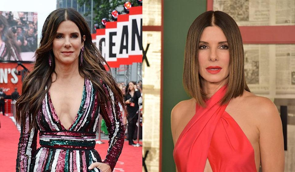 """Bullock book-ended her 2018 with two seriously big films—<em>Ocean's 8</em> and <em>Bird Box</em>—and two very different hairstyles. """"My life is changing so fast,"""" Bullock <a href=""""https://www.today.com/style/sandra-bullock-talks-about-her-haircut-hoda-kotb-t145430"""" rel=""""nofollow noopener"""" target=""""_blank"""" data-ylk=""""slk:told Hoda Kotb on Today"""" class=""""link rapid-noclick-resp"""">told Hoda Kotb on <em>Today</em></a> when the host remarked how changes in life can be reflected in your hair. """"It's funny. I feel like my hair was there to help me hide. I hide behind my hair. When I did cut it, I went, 'Oh, okay, that's me. I can be this person now.' It's all about the hair."""""""