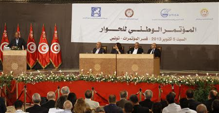 Tunisia's President Marzouki speaks during the National Conference for Dialogue in Tunis