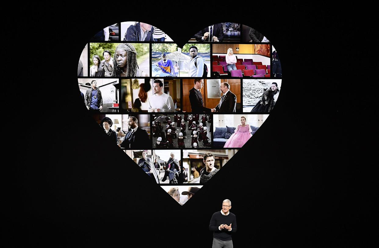 Tim Cook, chief executive officer of Apple Inc., speaks during an event at the Steve Jobs Theater in Cupertino. (Photo credit: David Paul Morris/Bloomberg via Getty Images)