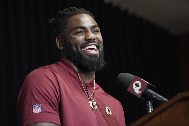 New Washington Redskins safety Landon Collins smiles during an NFL football press conference, Thursday, March 14, 2019, in Ashburn, Va. (AP Photo/Nick Wass)