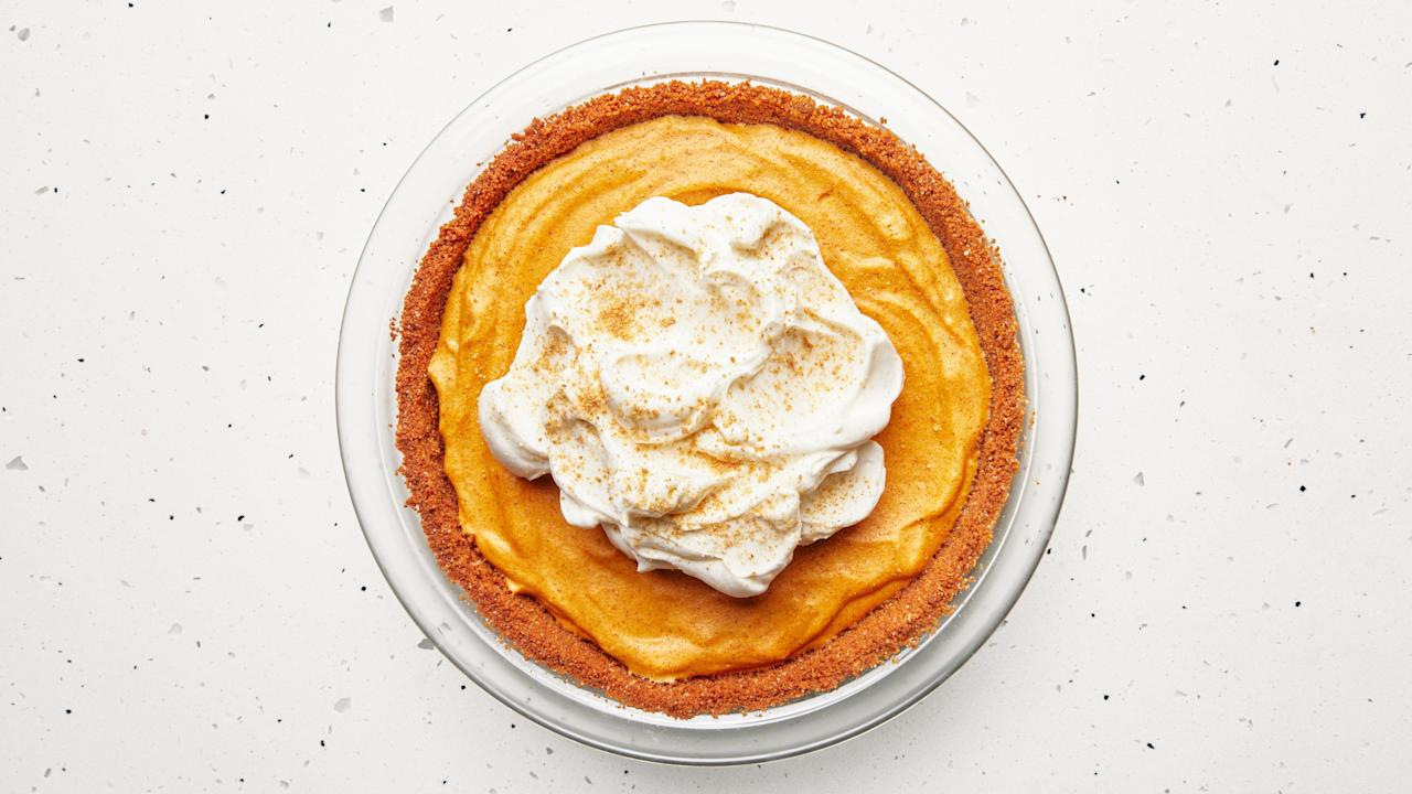 "This light-as-can-be pumpkin chiffon pie gets its cloudlike texture from the addition of beaten raw egg whites. (If that's not your thing, try <a href=""https://www.bonappetit.com/recipe/pecan-rye-pumpkin-pie?mbid=synd_yahoo_rss"">this one</a>.) Be sure to take them all the way to stiff peaks for a slice of pie that can hold its shape. Parbaking the graham cracker crust at a relatively low temperature for a longer period of time ensures a crisp and deeply fragrant crust that won't become soggy once the pumpkin filling is added. <a href=""https://www.bonappetit.com/recipe/pumpkin-chiffon-pie?mbid=synd_yahoo_rss"">See recipe.</a>"