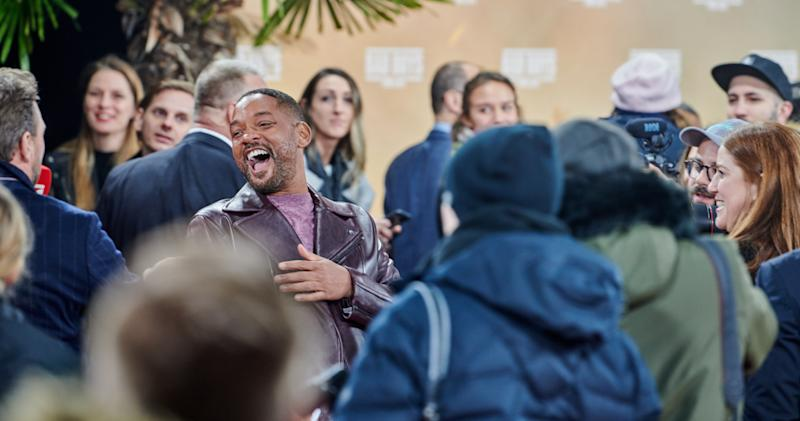 """07 January 2020, Berlin: Hollywood star Will Smith laughs with his fans at the German premiere of his film """"Bad Boys For Life"""" at the Zoopalast. Photo: Annette Riedl//dpa (Photo by Annette Riedl/picture alliance via Getty Images)"""