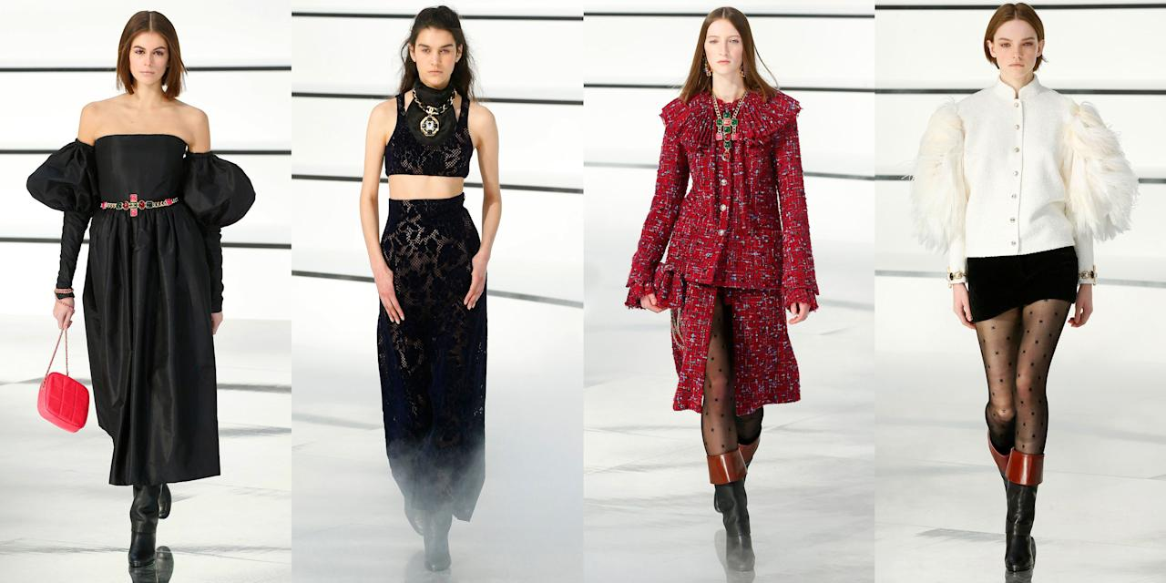 """<p>If the setting of Chanel's fall 2020 runway show reminded you of a river, specifically the River Seine, that was the point. Virginie Viard <a href=""""https://www.harpersbazaar.com/fashion/fashion-week/a31207668/chanel-fall-2020-collection-review-paris-fashion-week/"""" target=""""_blank"""">sprinkled motifs of the winding river</a> into her set for Chanel with white curvy platforms that mirrored the river's banks and a crystal clear water-like reflection runway. With the stage set, your focus then turns on the clothes and accessories themselves. """"For this <a href=""""http://pr.chanel.com/fw2020-21rtw/show/#/press-release.html"""" target=""""_blank"""">Chanel fall/winter ready-to-wear collection</a> 'almost no dresses, just casaques (jockey silks). Jodhpurs that open over seven-league boots, a nod to those belonging to Karl...' said Viard in the show notes. """"Just a few touches of pale green and the emblematic pink of the House. A softness. An outline, punctured with imposing jewelry. I love Chanel so much, this collection could only be a new ode."""" Do you agree with Viard? Check out the full fall 2020 Chanel lineup, ahead.</p><p>••• </p><p><em>For more stories like this, including celebrity news, beauty and fashion advice, savvy political commentary, and fascinating features, sign up for the </em>Marie Claire<em> newsletter (<a href=""""https://link.marieclaire.com/join/3oa/mar-newsletter?authId=F0CC0C27-80DA-4734-ABDF-E4115B84A56B&maj=WNL&min=ARTICLES"""" target=""""_blank"""">subscribe here</a>).</em></p>"""
