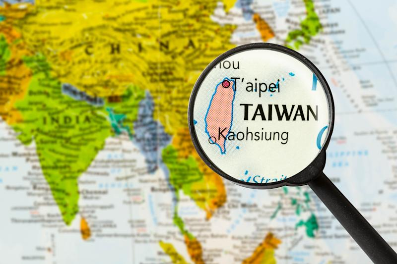 map of Taiwan through magnifying glass
