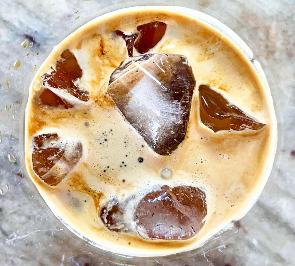 An iced coffee drink made with Osma Pro.