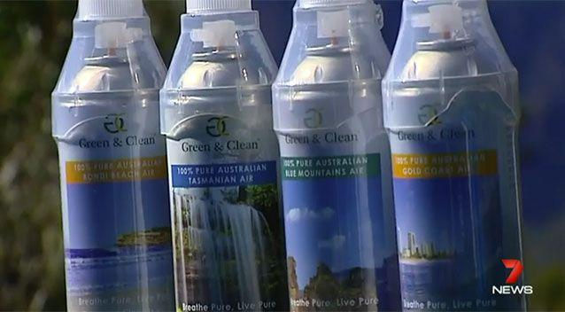 Clean & Green Air is the company name. They sell air in a can. Source: 7 News