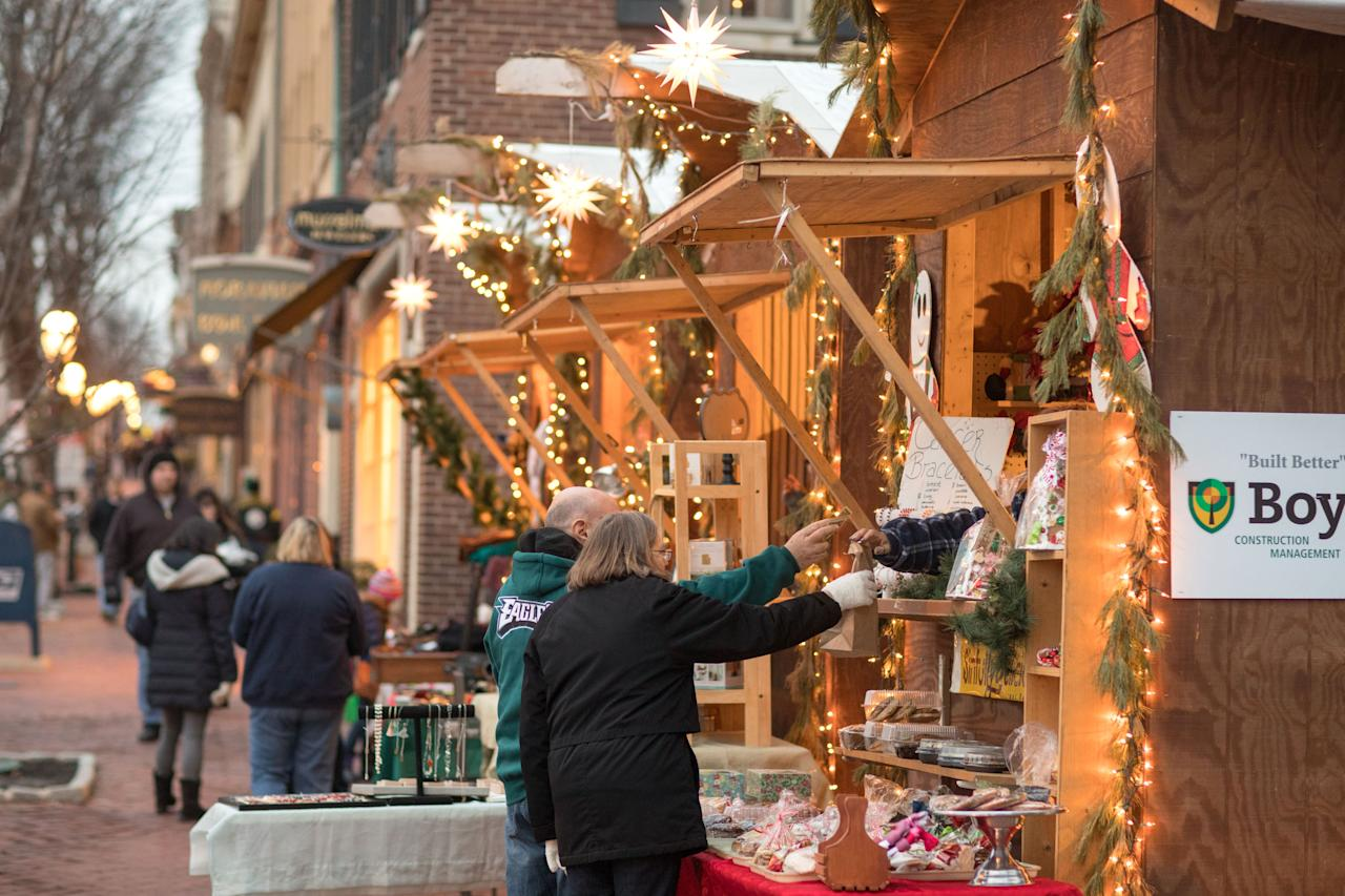 """<p><strong>Why we go:</strong> This Christmas, visit the little town of Bethlehem—in Pennsylvania, that is. The city's <a href=""""https://www.cntraveler.com/gallery/the-best-christmas-markets-in-germany?mbid=synd_yahoo_rss"""" target=""""_blank"""">German-inspired</a> Christmas City Village and <a href=""""https://www.christmascity.org/christkindlmarkt/"""" target=""""_blank"""">Christkinlmarkt</a> feature rotating displays by artisans, live music, and glass blowing demonstrations. This year, make sure to check out the new Outdoor Village's igloos and fire pits.</p> <p><strong>The one thing to get you in the spirit:</strong> The <a href=""""https://www.lvzoo.org/event/winter-light-spectacular/"""" target=""""_blank"""">Winter Light Spectacular</a> at the Lehigh Valley Zoo (about 30 minutes northwest of Bethlehem) features more than a million lights and illuminated scenes throughout the zoo.</p> <p><strong>Stay here:</strong> <a href=""""https://www.hotelbethlehem.com/"""" target=""""_blank"""">Historic Hotel Bethlehem</a> gets all decked out for the holidays, with 35,000 lights, giant toy soldiers, and several Christmas trees.</p>"""