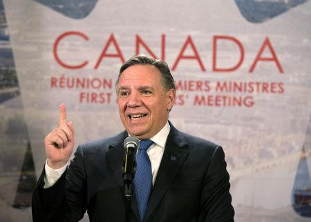 FILE PHOTO: Quebec Premier Francois Legault speaks to the press following the First Ministers' Meeting in Montreal,