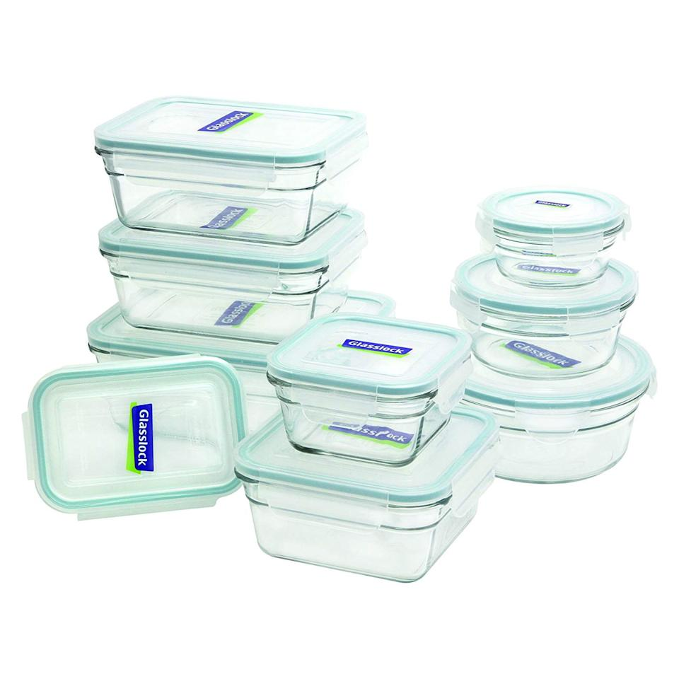 """<p>For a consistent seal, easy-to-use lids, and a wide selection of sizes, check out this set from Glasslock. It includes nine rectangle, square, and round containers ranging from ¾-cup to 6 ⅓-cup capacities, and is completely BPA-free. The standout feature of Glasslock containers, according to many reviewers, is the snap-down lids and silicone gaskets that create an airtight seal on each container, but are still easy to take on and off. </p> <p>In fact, customers can't stop gushing about the set. With more than 2,000 perfect five-star reviews, this Glasslock set is one of Amazon's most popular glass containers. Shoppers rave about how leakproof the containers are, as well as how they've held up over years of use. </p> <p>""""I have used the small ones nearly every weekday to bring my lunch to work, usually placed sideways in my backpack,"""" <a href=""""https://www.amazon.com/gp/customer-reviews/R2JJKNGOHJGFZT/ref=as_li_ss_tl?ie=UTF8&linkCode=ll2&tag=rsfoodbestglasscontainerskmacdonald0919-20&linkId=869d4d308fb8e04ba146049db2fec249&language=en_US"""" target=""""_blank"""">writes a reviewer</a> who has used them for more than three years. """"In all that time, I have never experienced a leak, even when carting soup. It's great to have something made of glass, because I can stick it straight in the microwave at work (taking the lid off of course) and not have to worry about melting or leaching as I would with plastic. I have also used the larger containers weekly to store food for the week, and have even put some of them in the freezer for long-term storage. So far, so good, and at this point, I would buy another set in a heartbeat if I needed it.""""</p> <p><strong>To buy:</strong> $40; <a href=""""https://www.amazon.com/Glasslock-11292-18-Piece-Assorted-Container/dp/B00LN810PM/ref=as_li_ss_tl?ie=UTF8&linkCode=ll1&tag=rsfoodbestglasscontainerskmacdonald0919-20&linkId=c85f15bec8df967932dc122c67174e20&language=en_US"""" target=""""""""_blank"""""""">amazon.com</a></p>"""