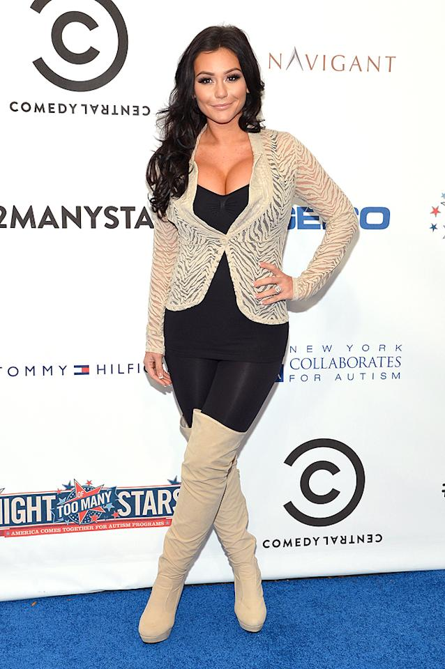 "NEW YORK, NY - OCTOBER 13:  Jenni ""J Woww"" Farley attends Comedy Central's night of too many stars: America comes together for autism programs at The Beacon Theatre on October 13, 2012 in New York City.  (Photo by Mike Coppola/Getty Images)"