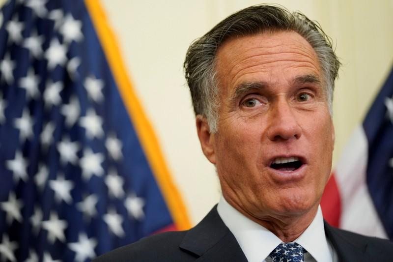 FILE PHOTO: U.S.Senator Mitt Romney (R-UT) speaks at a news conference about the Tobacco to 21 Act, which would raise the minimum age to buy tobacco products and e-cigarettes to 21, on Capitol Hill
