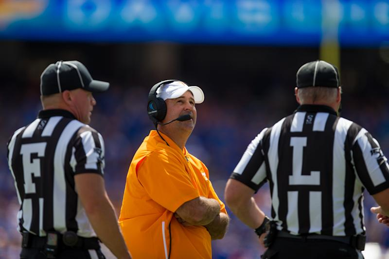 GAINESVILLE, FL - SEPTEMBER 21: University of Tennessee head coach Jeremy Pruitt talks with officials during an NCAA Division I football game between the University of Tennessee Volunteers and the University of Florida Gators on September 21, 2019, at Ben Hill Griffin Stadium in Gainesville, FL. (Photo by Mary Holt/Icon Sportswire via Getty Images)