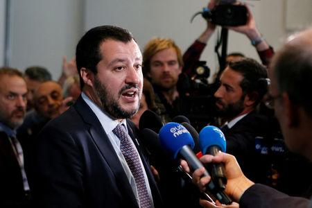 FILE PHOTO: Italian Deputy Prime Minister and Interior Minister Matteo Salvini talks to journalists  after a G6 meeting of Interior Ministers, the European Commissioner for Security and the European Commissioner for Migration near Lyon, France