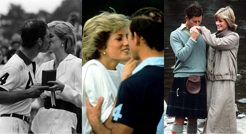 Prince Charles and Princess Diana at the polo (left and middle) and on their honeymoon at Balmoral in August 1981. [Photos: PA]