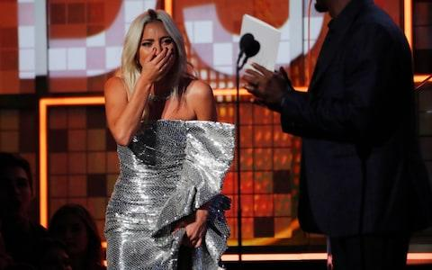 "Lady Gaga reacts on winning Best Pop Duo/Group Performance for ""Shallow"" with Bradley Cooper - Credit: Reuters"
