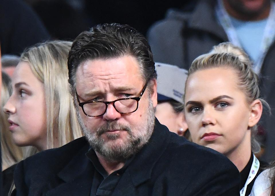 Russell Crowe watches on during the International Basketball Friendly match between the Australian Boomers and Team USA United States of America at Marvel Stadium on August 22, 2019 in Melbourne, Australia