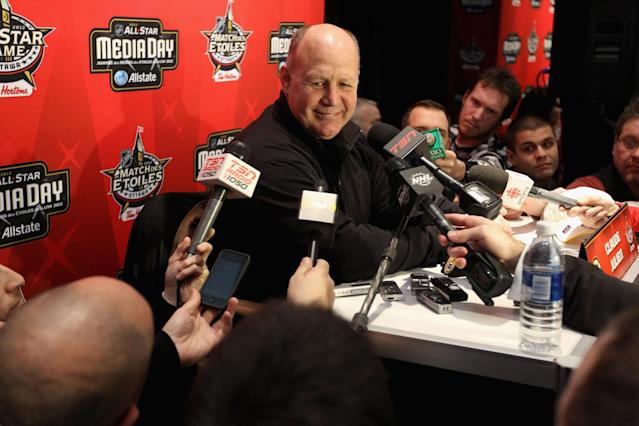OTTAWA, ON - JANUARY 27: Head coach Claude Julien of the Boston Bruins answers questions from the media during the 2012 NHL All-Star Game Player Media Availability at the Westin Ottawa on January 27, 2012 in Ottawa, Ontario, Canada. (Photo by Christian Petersen/Getty Images)