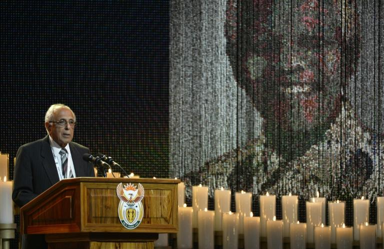 Ahmed Kathrada, seen here speaking at Nelson Mandela's funeral in 2013, was a fellow anti-apartheid activist who later served in the first African National Congress government