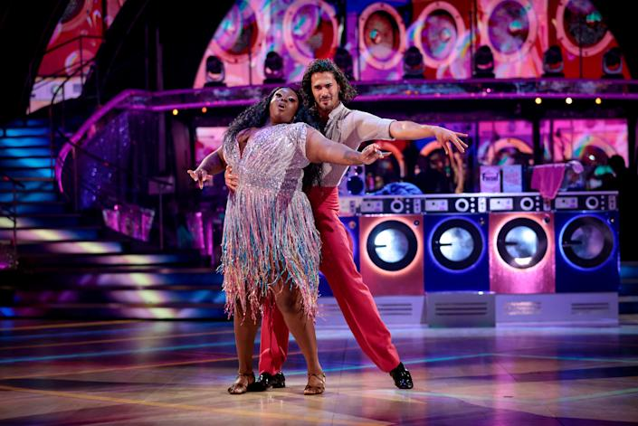 WARNING: Embargoed for publication until 21:00:01 on 02/10/2021 - Programme Name: Strictly Come Dancing 2021 - TX: 02/10/2021 - Episode: Strictly Come Dancing - TX2 LIVE SHOW (No. n/a) - Picture Shows: ++DRESS RUN++ **STRICTLY EMBARGOED FOR PUBLICATION UNTIL 21:00:01 02/10/2021** Graziano Di Prima, Judi Love - (C) BBC - Photographer: Guy Levy