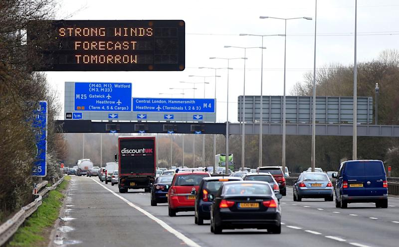 A matrix sign warns motorists on the M4 motorway about high winds expected on Easter Monday, as Storm Katie is set to bring high winds to coastal regions for the rest of the Easter weekend.