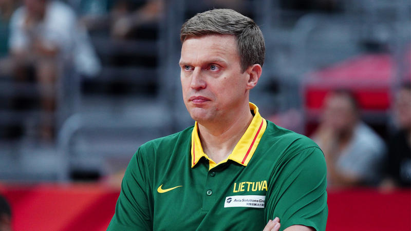 Head coach Dainius Adomaitis of Lithuania looks on during FIBA World Cup 2019 Group H match between Lithuania and Australia at Dongguan Basketball Center on September 5, 2019 in Dongguan, Guangdong Province of China. (Photo by VCG/VCG via Getty Images)