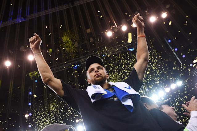 "<a class=""link rapid-noclick-resp"" href=""/nba/players/4612/"" data-ylk=""slk:Stephen Curry"">Stephen Curry</a> is one of nine NBA players ever to win multiple MVPs and multiple titles. (Getty Images)"
