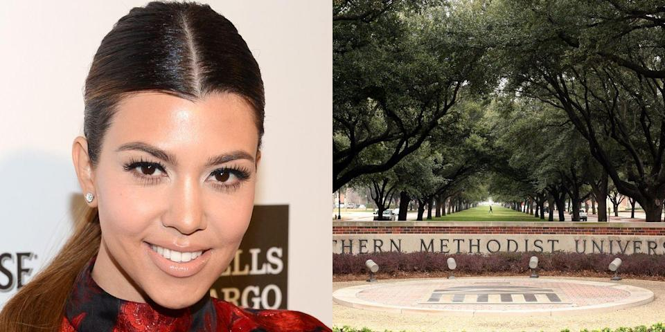 """<p><strong>Southern Methodist University & University of Arizona</strong></p><p>After two years at Southern Methodist University in Dallas, Kardashian transferred to the University of Arizona, Tucson, where she completed her Bachelor's degree in theatre arts and a minor in Spanish. Kardashian told <a href=""""http://www.usmagazine.com/entertainment/news/25-things-you-dont-know-about-me-kourtney-kardashian-2010610"""" rel=""""nofollow noopener"""" target=""""_blank"""" data-ylk=""""slk:US Weekly"""" class=""""link rapid-noclick-resp""""><em>US Weekly</em></a> that while at college she was stung by a scorpion and failed two classes because she was """"too nervous to give speeches.""""</p>"""
