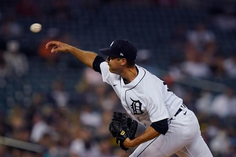 Detroit Tigers relief pitcher Jason Foley throws during the seventh inning of a baseball game against the Toronto Blue Jays, Saturday, Aug. 28, 2021, in Detroit.