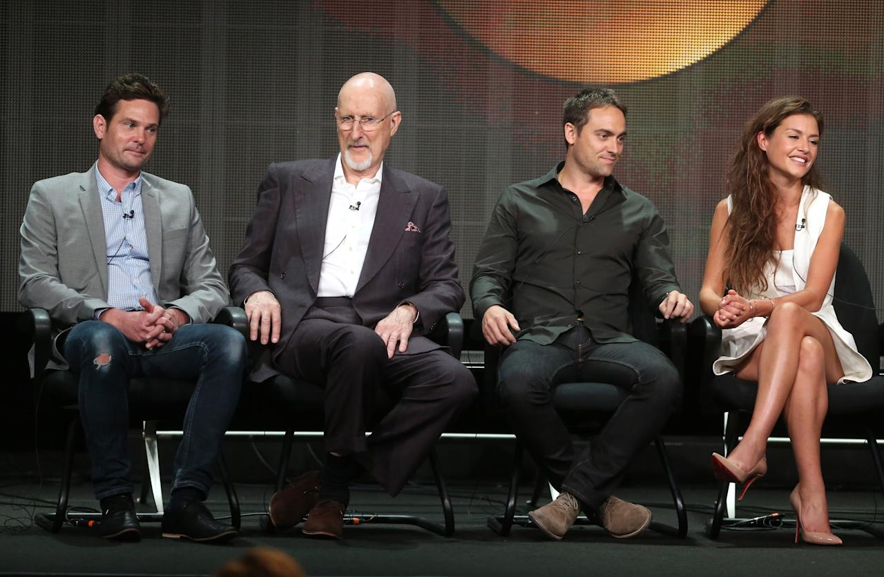 """BEVERLY HILLS, CA - AUGUST 04: Actors Henry Thomas, James Cromwell, Stuart Townsend, and Hannah Ware speak onstage during the """"Betrayal"""" panel discussion at the Disney/ABC Television Group portion of the Television Critics Association Summer Press Tour at the Beverly Hilton Hotel on August 4, 2013 in Beverly Hills, California. (Photo by Frederick M. Brown/Getty Images)"""