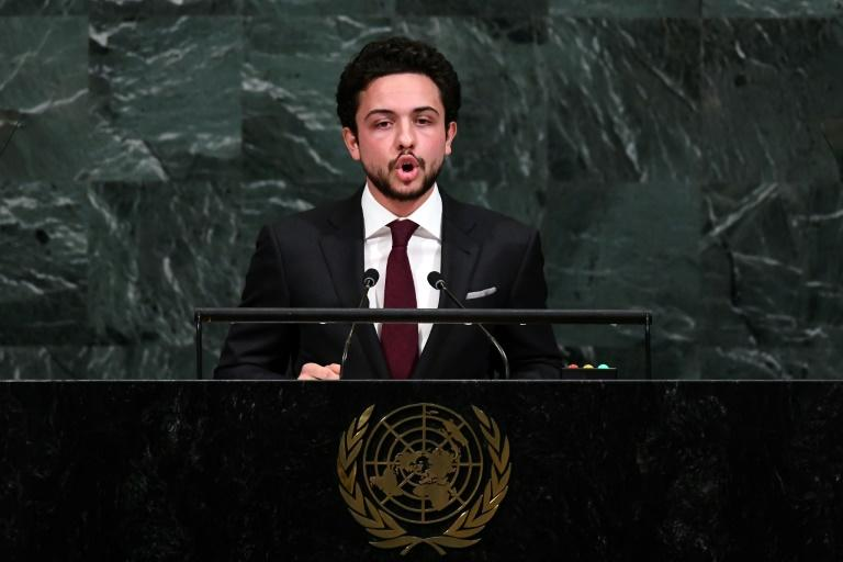 Jordan's Crown Prince Hussein bin Abdullah II addresses the 72nd Session of the United Nations General assembly at the UN headquarters in New York