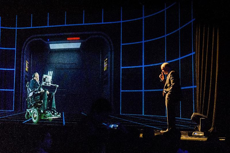Renowned physicist Stephen Hawking has spoken to a Hong Kong audience by hologram, showcasing the growing reach of a technology which is making inroads into politics, entertainment and business (AFP Photo/Anthony WALLACE)