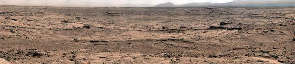 """This panorama is a mosaic of images taken by the Mast Camera (Mastcam) on NASA's Mars rover Curiosity while the rover was working at a site called """"Rocknest"""" in October and November 2012."""