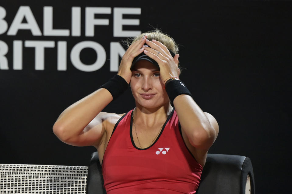 Dayana Yastremska of Ukraine reacts as she sits down during a change of ends in her round one match against Camila Giorgi during day one of the Internazionali BNL D'Italia.