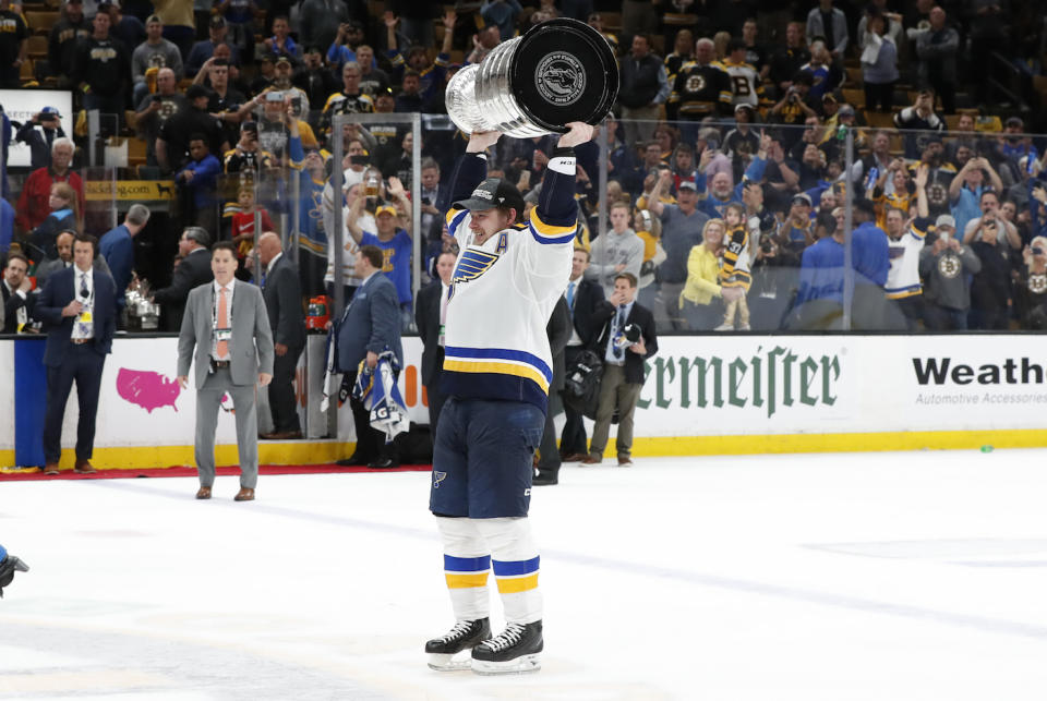 St. Louis Blues right wing Vladimir Tarasenko revealed that he'll be fine for training camp after dislocating his shoulder during Game 2 of the Stanley Cup Final. (Fred Kfoury III/Icon Sportswire via Getty Images)