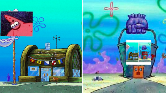 Use The Krusty Krab Vs Chum Bucket Meme To Share Your Strongest Takes