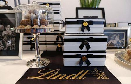 Packages of Diva chocolate truffles of Swiss chocolatier Lindt & Spruengli are displayed during the company's annual news conference in Kilchberg